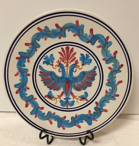 VTG-Keramikos-Hand-Painted-Blue-Red-Mystic-Phoenixes-Home-Decor-Porcelain-Plate