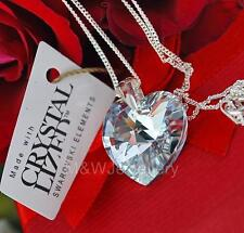 STERLING SILVER * CHAIN NECKLACE WITH SWAROVSKI ELEMENTS HEART CRYSTAL CAL 18mm