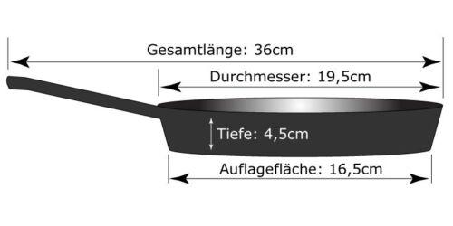 teflonfrei Bratpfanne Steakpfanne • Pfanne aus Gusseisen 19,5cm Durchm NEU