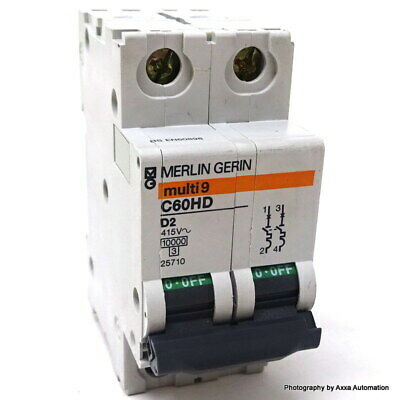 Merlin Gerin C60HD202 2 Amp Type D Multi9 2 Pole 10kA Circuit Breaker MCB 25710