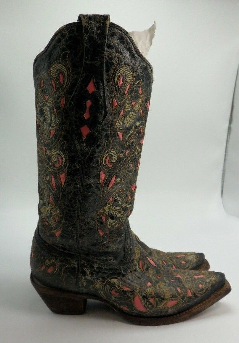 Corral Women's 6 M Laser Inlay Black Hot Pink Leather Cowboy Boot Snip Toe A1953