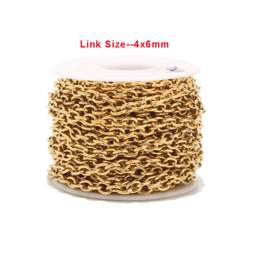 1 Meter 4x6mm Stainless Steel Gold Link Chains Metal Jewelry Making Chain