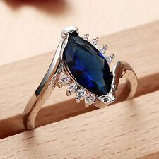 Women 925 Silver 1.6CT Sapphire  Gemstone Size 9 Wedding Ring Engagement