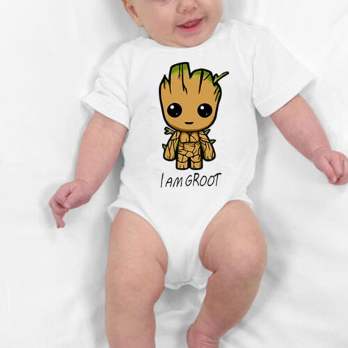I Am Groot Newborn Baby Kids Infants Bodysuit Romper Jumpsuit Playsuit Sunsuit