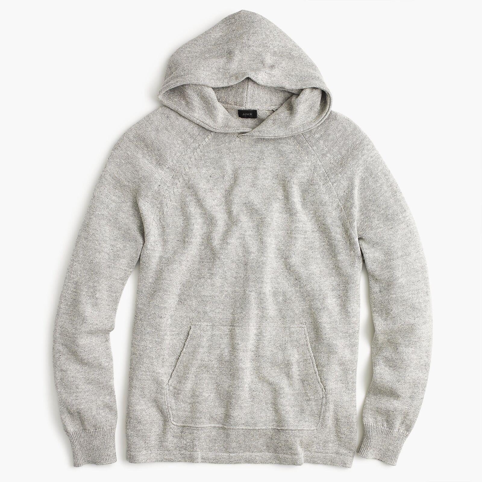 J.Crew Cotton-Wool Sweater Hoodie | S | Hthr Slate | 98