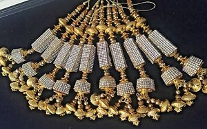 1 pair of Latest indian Gold Zircon Latkan Sari Blouse Accessory Duppata Sewing