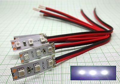 5X Blau LED Gebäudebeleuchtung mit Kabel E941b 25mmX8mm
