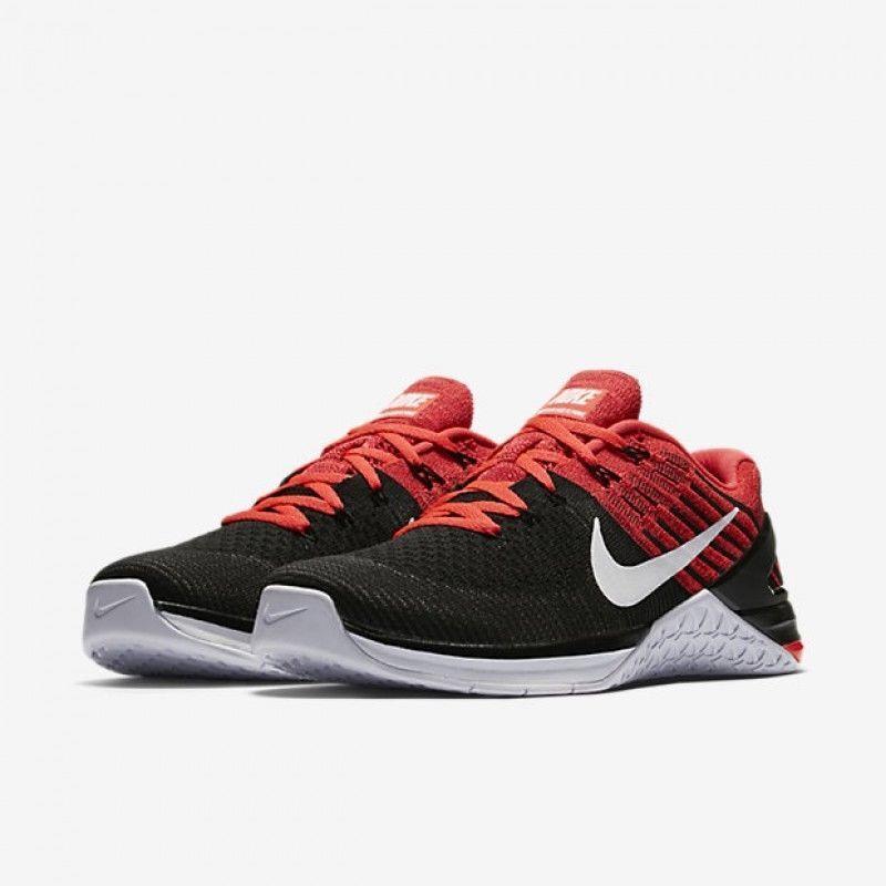 Nike uomini sz 8 metcon dsx flyknit scarpe 852930 009 nero / bianco / rosso