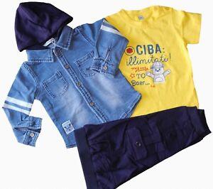 Completo Camicia Jeans Felpa + Pantalone E T-shirt Neonato Baby Tg.12/36 Mesi