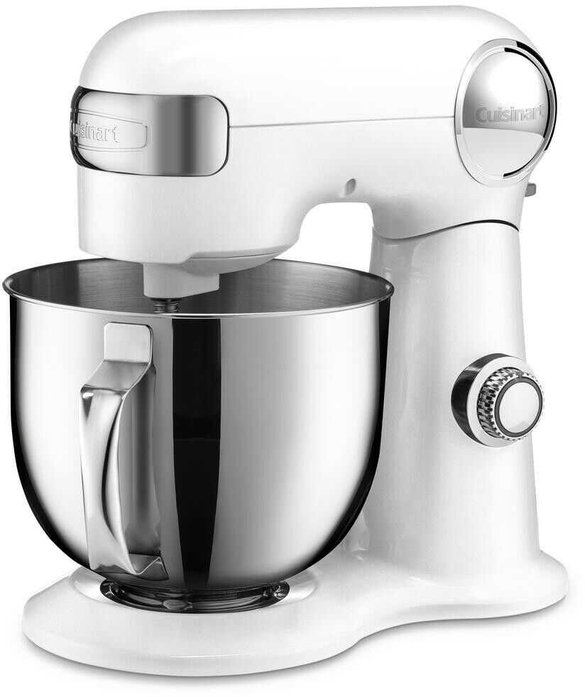 Stand Mixer 5.5 Qt. 12-Speed Stainless Steel Bowl White with Kneading Paddles