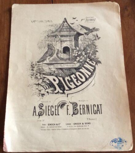 La Pigeonne Musique F. Bernicat  Partition illustration Antoine Barbizet