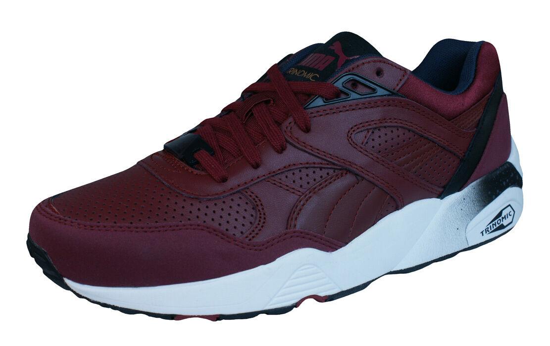 Puma R698 Gym Trinomic Trainers Leather Jogging Gym R698 Running fashion shoes Maroon 63a47f