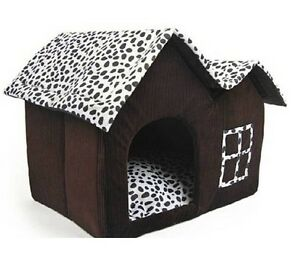 NEW-HOUSE-LUXURY-DOG-PET-CAT-KENNEL-DOUBLE-ROOF-DAIRY-COW-DAIRY-LEOPARD-FABRIC