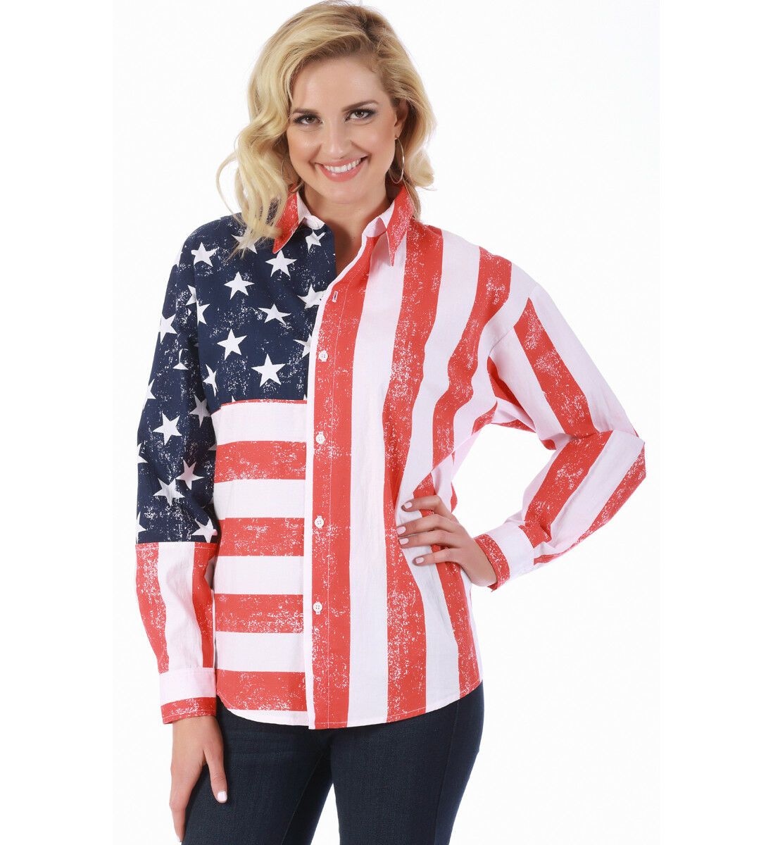 American flag shirt with long sleeves
