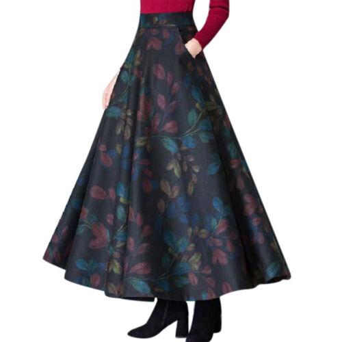 Women Floral Maxi Skirt Elastic Waist Dress Winter Cocktail Party Long Dress
