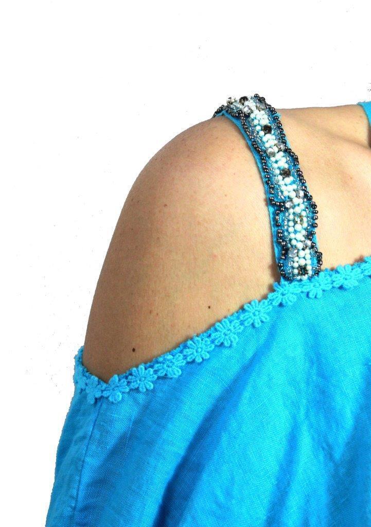 ROBERTA GUERCINI blusa  donna con con con applicazioni turchese 100% lino MADE IN ITALY 732b25