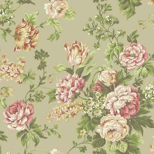 Wallpaper-Designer-Coral-Pink-Yellow-Gray-Green-Floral-Vine-on-Pearlized-Cream