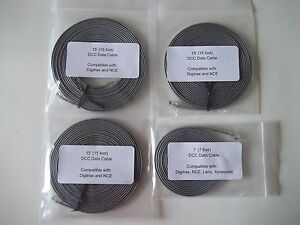 4 pack (1 7' & 3 15') Model Railroading DCC Data Cables, Digitrax LocoNet, NCE