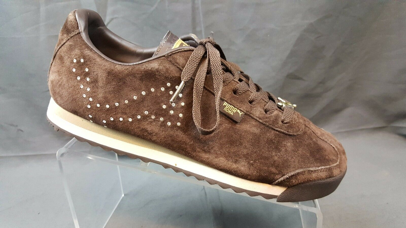 Puma Roma Diamond Brown US Suede Leather Jeweled Sneakers Women's US Brown 9.5 6bd13b