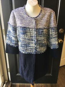 New-169-Chico-039-s-Blue-Textured-Colorblock-Jacket-Topper-Sz-2-L-Large-12-14-NWT