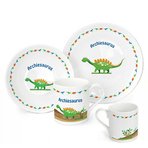 Image is loading Personalised-Childrens-Breakfast-Dinosaur-3-Piece-Plate- Bowl-  sc 1 st  eBay & Personalised Childrens Breakfast Dinosaur 3 Piece Plate Bowl Mug ...