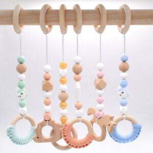 Safe Activity Play Gym Toy Crochet Wood Beads Baby Teething Stroller Rattle Toys