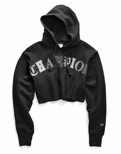Champion Life Women/'s Hoodie Reverse Weave Crop Cut Off Pullover Old Eng Letters