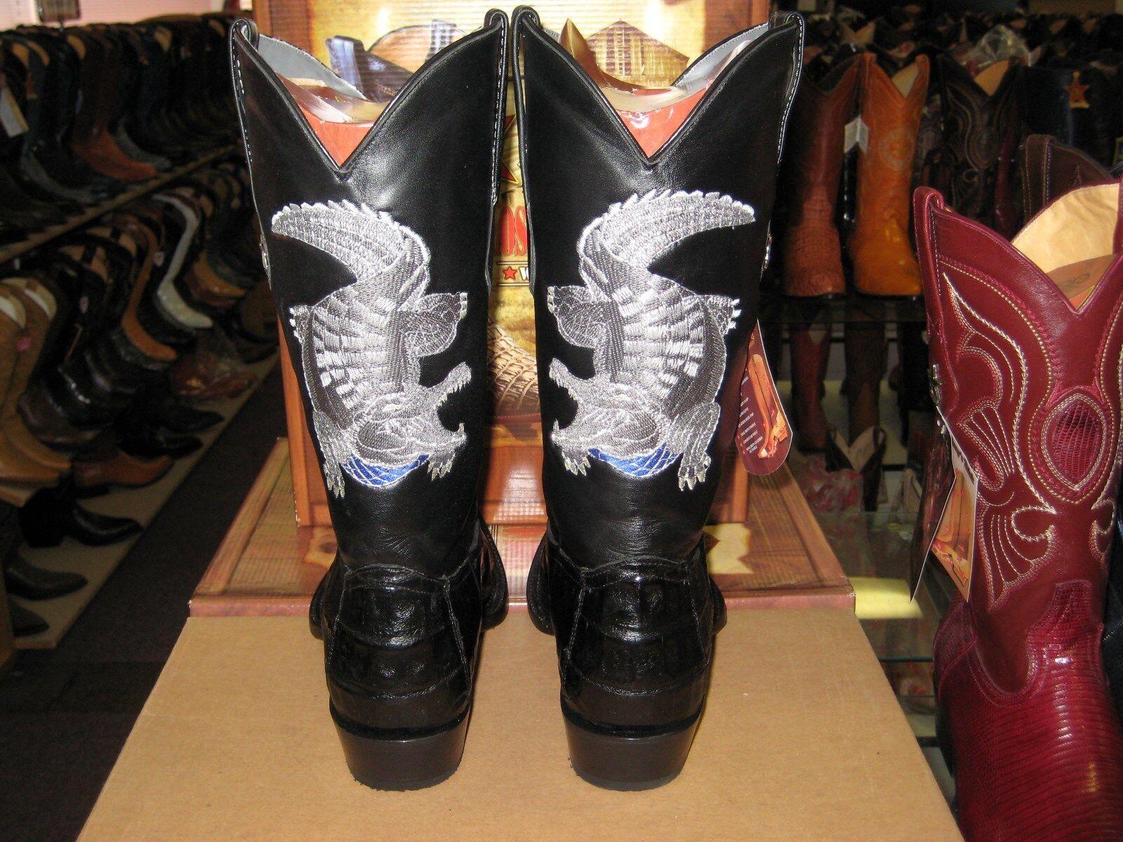 LOS ALTOS NEGRO SNIP Toe Monstruo Monstruo Monstruo Cocodrilo cola Bota de vaquero occidental (extra grande) 98E0105 c13c96