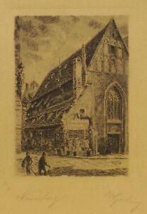 """"""" Nürnberg Strassenansicht """" Gravure à L'eau-forte Sign.w.gerling 1923 Magasin En Ligne"""