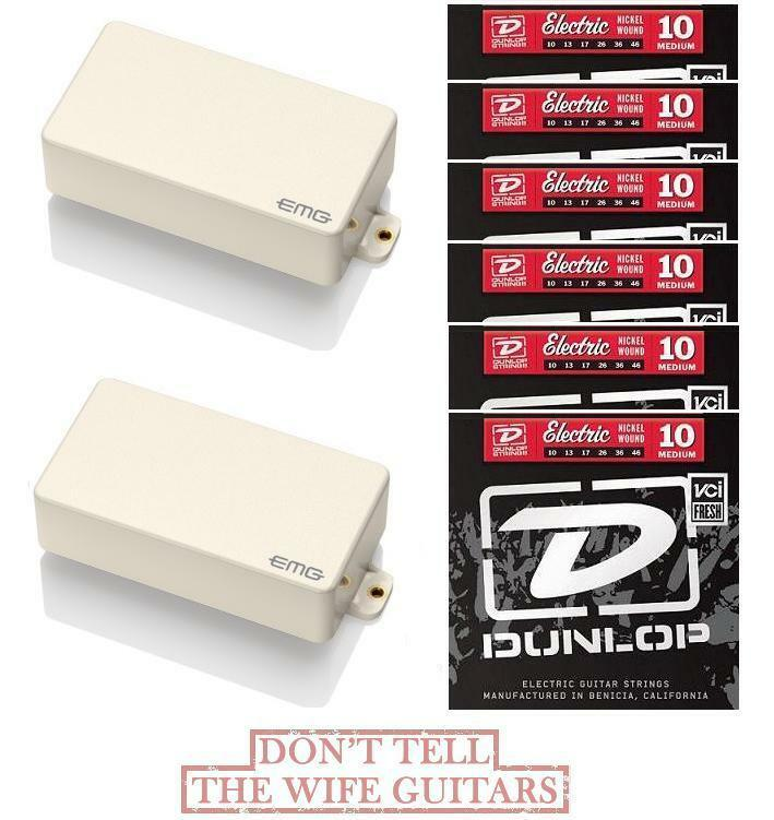 EMG 81 + 60A Alnico IVORY Humbucker Pickup Set & Long Shaft Pots (6 STRING SETS)