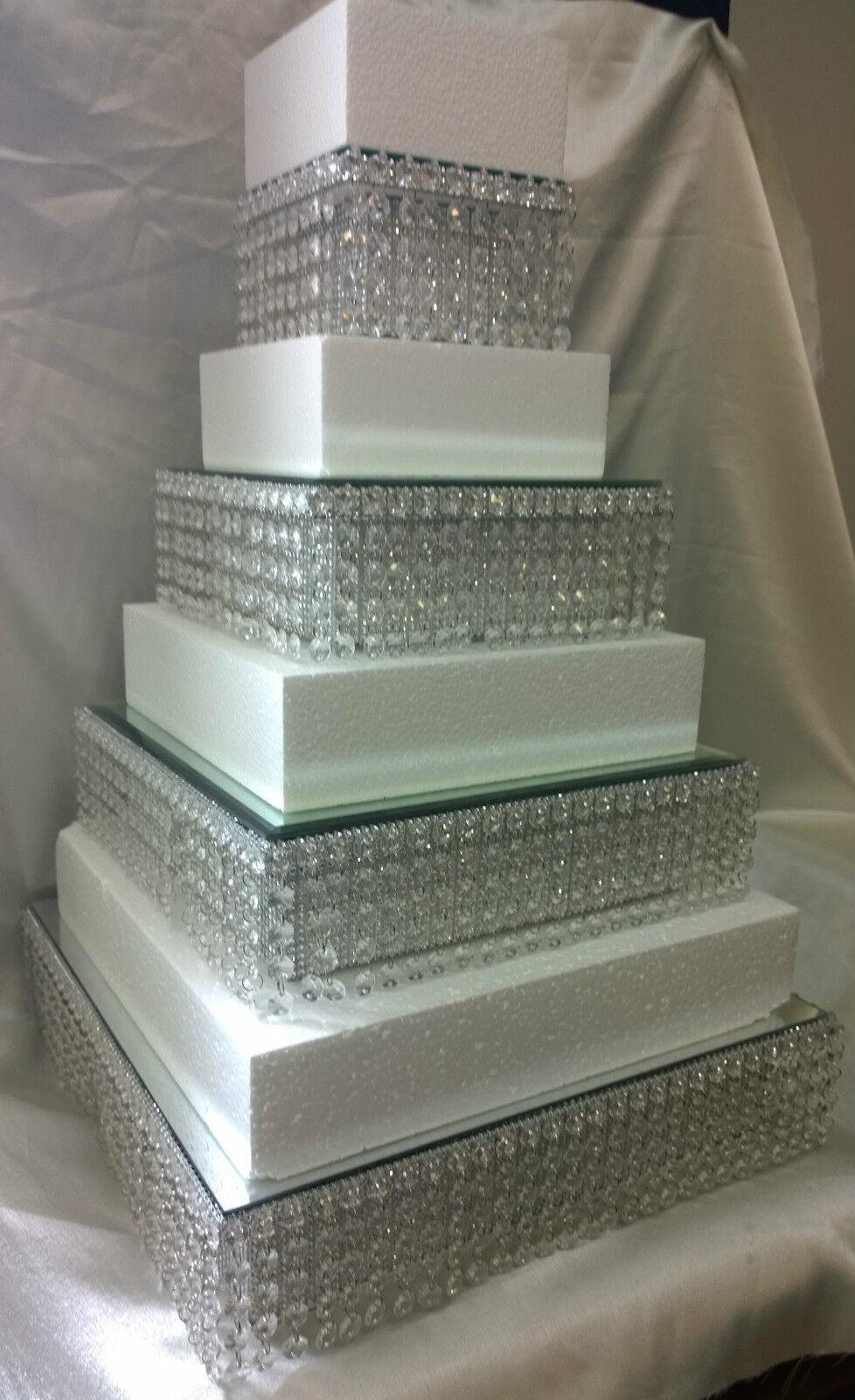 Crystal diamante wedding cake stands empilés paliers en rond ou carré