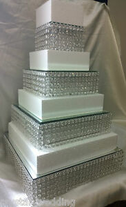 Image Is Loading Crystal Diamante Wedding Cake Stands Stacked Tiers In