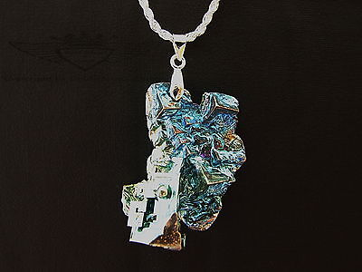 925er Silberkette mit Anhänger, Bismut, Hopperkristall, Wismut Kristall,edel,neu
