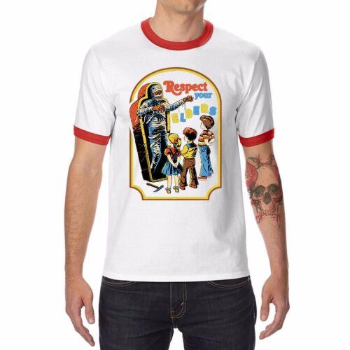 Respect de vos anciens Drôle T-Shirt Homme Ringer Coton O-cou à manches courtes Tops