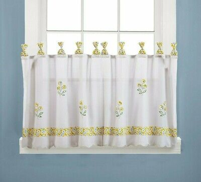 "69/"" W Daisy Grommet Vintage Kitchen Sheer Cafe Curtains White Sheer Tier Curtain"
