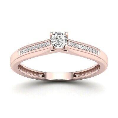 14d2a46819a IGI Certified 10k Rose Gold 0.08 ct TDW Diamond Classic Ring | eBay