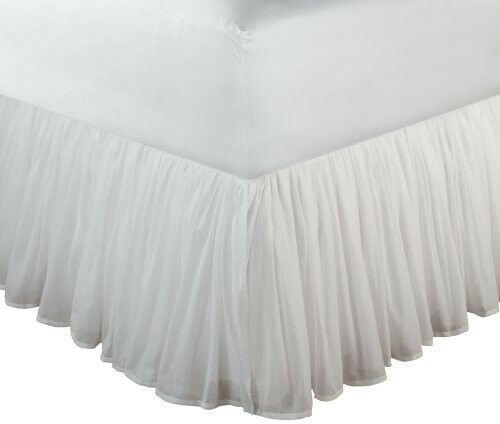 King White Bed Skirt Drop Easy Fit Cotton Wrap Around Dust Ruffle