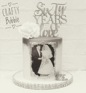 WOODEN WEDDING ANNIVERSARY CAKE TOPPER (ANY YEARS) 'OF LOVE' ANY COLOUR HANDMADE