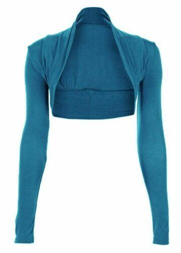 Womens Plain Long Sleeves Cropped Shrug Top Ladies Cardigan Plus Size8-26 Bolero