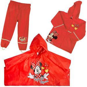 Kinder-Maedchen-Disney-Minnie-Mouse-Regenjacke-Regenhose-Regenponcho-wasserfest