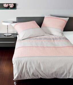 Janine Biber Bettwäsche 155x220 Davos 65020 01 Streifen Rosa Silber