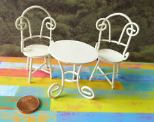 Sitzgruppe Tisch Stuhl Minigarten Möbel Puppenstube Miniatur 1:12 cremeweiß 6cm