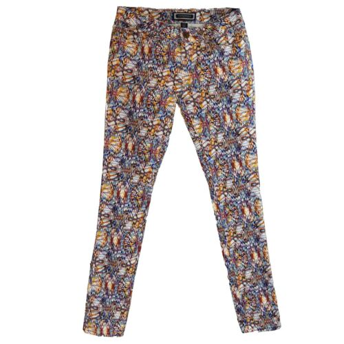 Kardashian Kollection Womens Printed Denim Pants Skinny Leg Low Rise Size 4 6