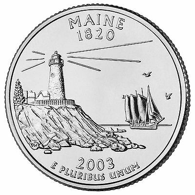 """State Quarter 25c Uncirculated Roll of 40 /"""" P /"""" Mint #23 2003 Maine ME"""