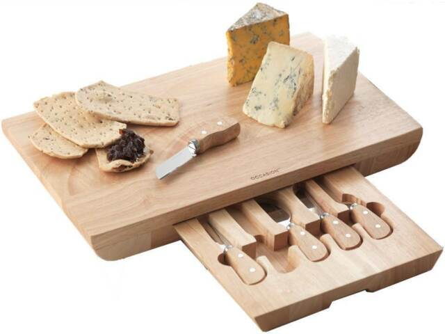 Occasion Deluxe Rectangular Wooden Cheese Board 5 Speciality Knife Set