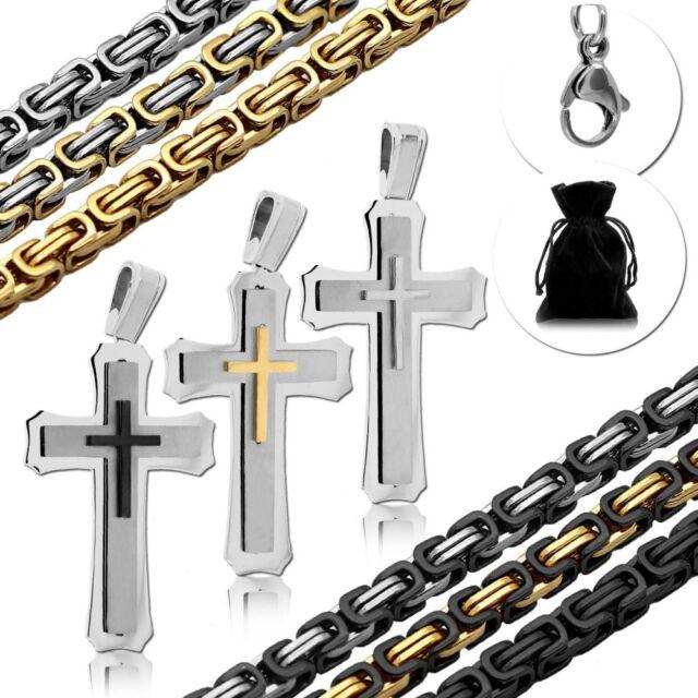 Set Königskette Anhänger Kreuz Kruzifix Panzerkette Halskette Massiv Herren XXL