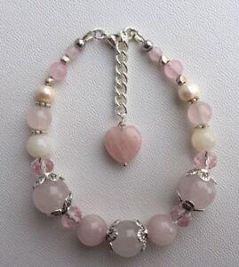 Fertility Healing Love Pregnancy bracelet Rose Quartz Moonstones Pearls