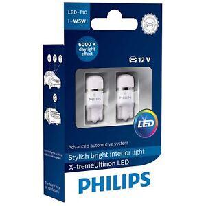 W5W-Philips-X-treme-Vision-LED-T10-12V-Coche-Bombillas-de-Senalizacion-Interior-6000K-Twin