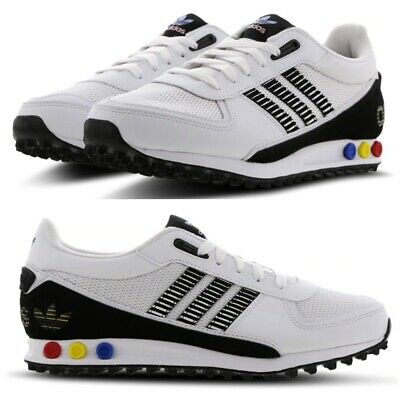 adidas la trainer leather schuhe white-black-lone blue