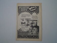advertising Pubblicità 1972 PLASTIC CITY ITALOCREMONA ITALO CREMONA